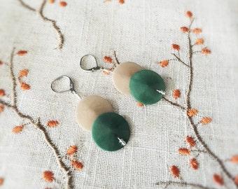 Tagua Nut Jewelry - Tagua Nut Earrings - Round Disc Tagua - Surgical Steel - Nut Jewelry