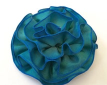 Indigo Blue Ombre Fabric Flower Pin, Hair Clip, Fascinator Accessory