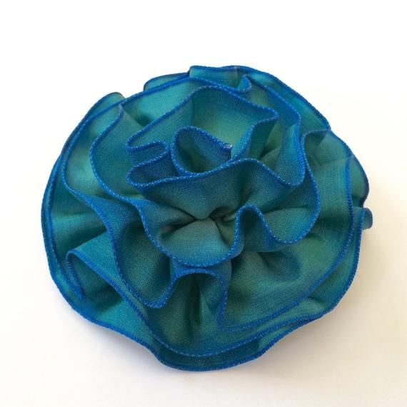 Indigo Blue Ombre Fabric Flower Pin, Hair Clip, Fascinator Accessory