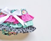 Baby Girl Bloomer-Fall floral baby girl-grey mint pink-vintage baby girl bloomer-ruffle diaper cover-Baby Girl Fall bloomer