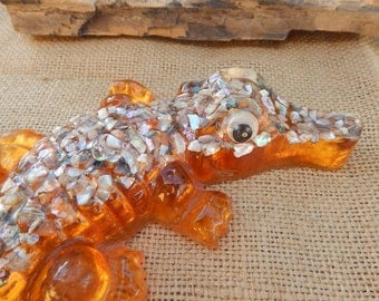 Lucite and Abalone Alligator  ~  Resin and Abalone Alligator  ~  Mid Century Lucite Alligator  ~  Mid Century Resin Alligator