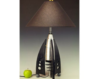 Retro Rocket table lamps! 239. Steam punk industrial. Mid century modern. 50s Atomic. Metal leaf finnish