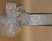 """New 1-1/2"""" Silver Mesh Wired Ribbon 5 yards, Silver glitter Mesh Ribbon, Holiday Ribbon"""