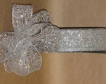 "New 1-1/2"" Silver Mesh Wired Ribbon 5 yards, Silver glitter Mesh Ribbon, Holiday Ribbon"