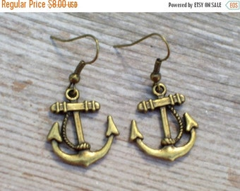 Brass Anchor Earrings, Antiqued Brass Plated Sailor Earrings, Nautical Earrings, Brass Nautical Jewelry, Beach Jewelry, Nautical Wedding