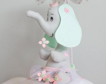 Elephant Nursery Decor, Pink, Grey, Girls Nursery, Baby Shower Gift Idea, Elephant Plushy on a Cloud, Flower Umbrella, Tiny Flowers, i133