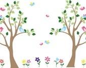 Nursery decal - Kids tree decal - vinyl wall decal - flower decal - daisy decal - birds - tree set decal - girl tree