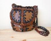 Vintage Black and  Brown Leather Woven Bucket 1970s Hippie Bag Brazilian Purse Cross Body Satchel