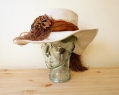 Vintage Women's Over The Top Ivory Leather Ostrich Quail Feather Floppy Wide Brim Hat