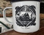 Ship in a bottle enamel mug