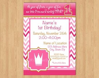 Princess Invite Pink! 1st Birthday Party Hot Pink Crown invite Girl 1st birthday invitation Princess invitation Chevron 1st party invite