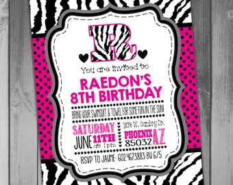 Girl Birthday Invitation Swim Party Pool Party Pink and Zebra and Pink Printable Birthday Printable Invitation Polka Dots Zebra Print