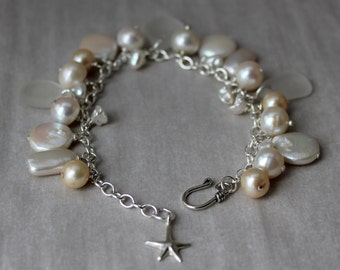 White Sea Glass and Pearl Cluster Bracelet on Sterling Silver
