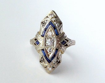 Art Deco Diamond Filigree Ring. Synthetic Sapphire. 18k White Gold. Size 6.75