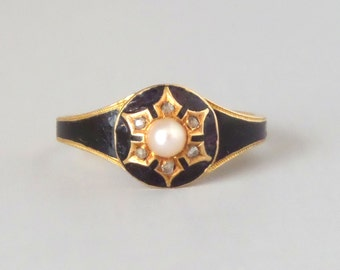 Antique Enamel Mourning Ring. Diamond Snowflake. 18k English Gold.