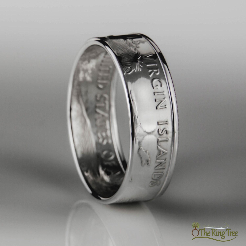 islands quarter coin ring silver 900