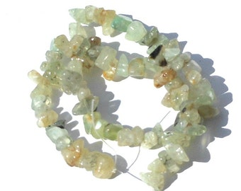 Natural Prehnite Stone Chips, Pebbles, Nugget Beads Green, Black, Crafting Beads, Beading Supplies, DIY, Strand