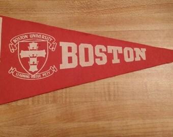40's-50's Vintage Boston University Mini Felt Pennant