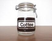 Retro Coffee Jar Typography Glass 1L Food Retro Typography 1980s