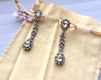 Barrera clear  rhinestone drop earrinings  clip on #474