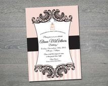 Coco Chanel Birthday Party invitation- printable file