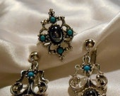 40% OFF SALE Avon Mirabella Hematite and Simulated Turquoise Bead Silver Ring Size 8 to 9  and Matching Clip Style Dangle Earrings