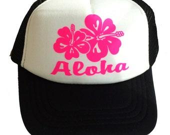 Black Aloha Hibiscus  Kid's Youth TODDLER Mesh Trucker Hat Cap Snapback Pink