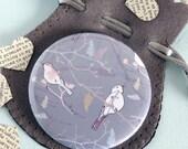 Bird Pocket Mirror, Compact Mirror, Stocking Filler, Beauty gift, Japanese Pattern Mirror, Made in UK, Gift for Mum, Bird on branch design