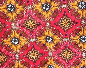 Vintage Fabric, Bright Colors, Red, Pink, Diamonds, Paisley Design