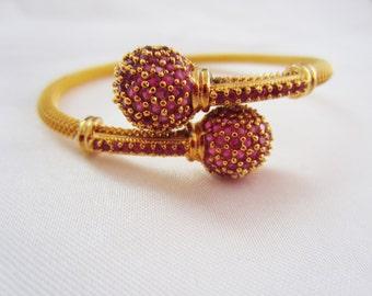 Ruby Bangle Bracelet, Ruby Kada, Indian Jewelry, Bridesmaid Gift