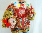 SALE 2XL  Ugly Christmas Sweater HoT MeSS Creepy Santa Light Up Womens Xmas Striped Sweater Winner Mens - Plus Size 2XL