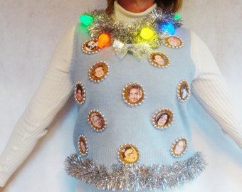 UGLY Hanukkah Sweater Jewish Chanukkah Funny Christma X-mas Party Vest Gold. Light up Blue Photo Humor Jumper Faces - Size S M L