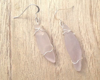 Soft Lavender Seaglass Sterling Silver Earrings for Her
