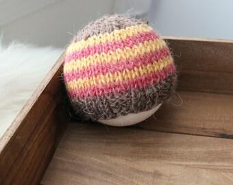 newborn photography prop, mustard yellow brown red striped beanie hat with button, 0-2 months-soft to skin alpaca mix yarn-baby shower gift