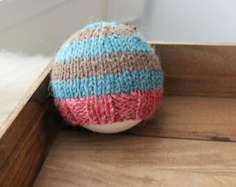 newborn photography prop, blue brown red striped beanie hat with button, 0-2 months-soft to skin alpaca mix yarn-baby shower gift