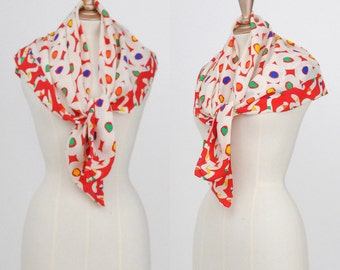 Vintage 1980's Large Ginnie Johansen Silk Circles and Dots Scarf