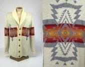 Vintage Pendleton Navajo Blanket Shawl Collar Sweater