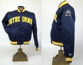 80s Notre Dame Fighting Irish Satin Starter Jacket size Medium