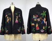 40s Mexican Souvenir Embroidered Wool Jacket