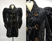Victorian Black Mohair Velvet & Fur Fitted Toggle Coat Evening Jacket