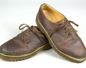 90s Dr Marten Brown Leather Low Ankle Lace Up Shoes, 4 UK 6 US