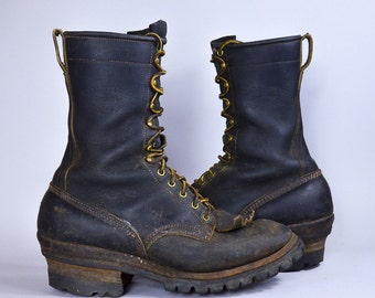 70s Packer Boots Buffalo Spokane Smoke Jumper Black Leather Motorcycle Biker Boots, 10 D