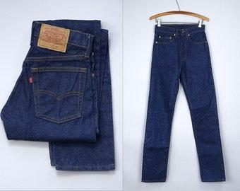 DEADSTOCK Levis 505 Dark Denim Blue Jeans 1981 Indigo Denim 27 x 34