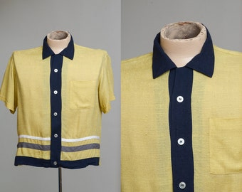 1950s Mens Rockabilly Cranbrook Loop Collar Atomic Mid Century Bowling Dress Shirt