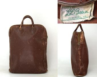 1940s L.L. Bean Leather Field Tote Shopper Bag