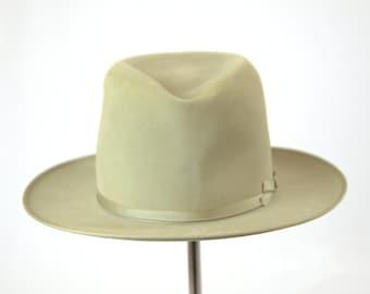 50s Stetson Royal De Luxe Ivory Wool Wide Brim Fedora Hat