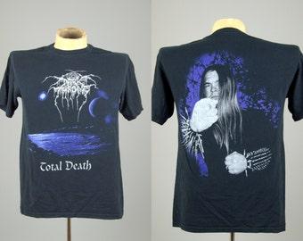 90s DARKTHRONE Total Death Black Metal T Shirt