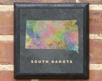 South Dakota SD Splatter Watercolor Paint Effect Vintage Style Plaque Sign Decorative Home Decor Wall Art Gift Present