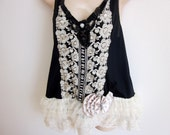 Refashioned camisole cami slip black nylon sexy  lingerie 38 bust  L XL