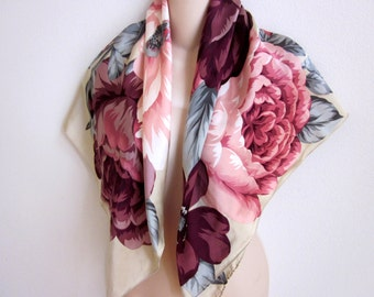 "Vintage scarf Adrienne Vittadini silk floral print  pink colors  34"" square"